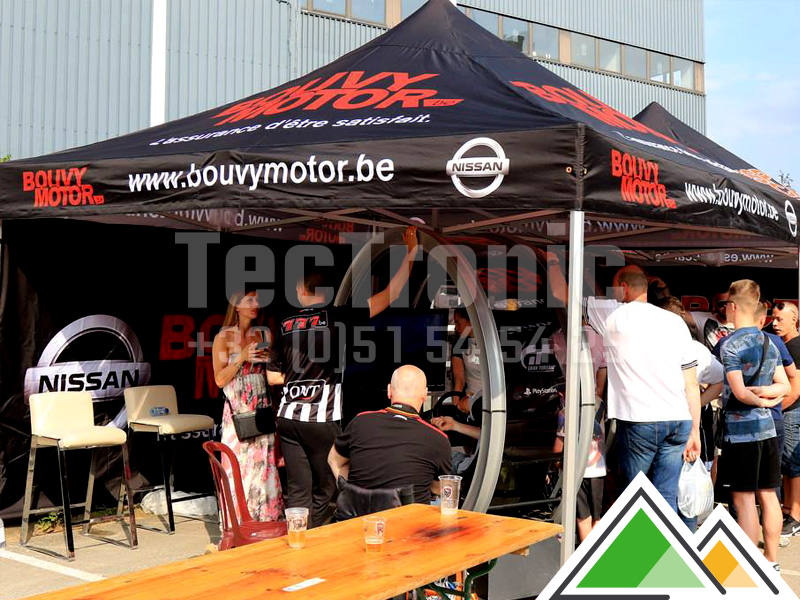 Bedrukte easy-up tent voor Bouvy Motor