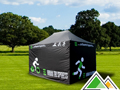 Zwarte 3x4,5 easy-up tent Solid 50 met bedrukking Urban Tri Sports